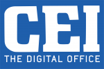 Vertical Primary Logo, CEI Blue Background