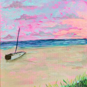 Sunset beach. 8x10 acrylic on Canvas panel. $100 unframed v2