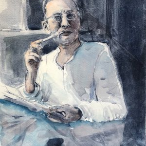 Title_ Manto by the Window Medium_ watercolor on paper Dimensions_ 13.5x10 Price_ $100 by Dr Alya Jawaid