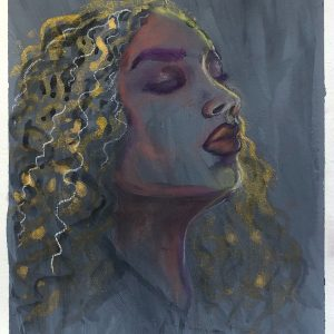 """Title_ Queen B Medium_ mixed Media, pastel and watercolor on paper Dimensions_ 9x14"""" unframed Price $100 by Dr Alya Jawaid"""