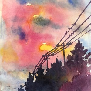 """Title_ Sunset By the Road Medium_ Watercolor on paper Dimensions_ 11x7"""" Price_ $50 by Dr Alya Jawaid"""